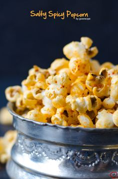 Salty Spicy Popcorn is a perfect savory snack to pair with your cold beer. Best stove-top popcorn method is included in the recipe. Spicy Popcorn, Gourmet Popcorn, Popcorn Recipes, Popcorn Toppings, Popcorn Bowl, Popcorn Snacks, Flavored Popcorn, Gourmet Foods, Appetizer Recipes
