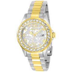 Product Image: Invicta Women's Disney Gold-Tone Steel Bracelet & Case Quartz Silver-Tone Dial Analog Watch 22871