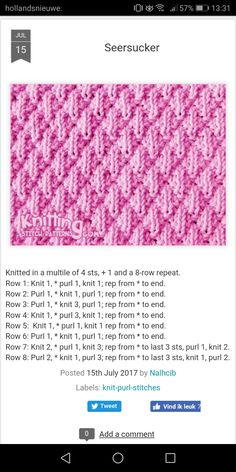 How to knit the seersucker stitch pattern includes written instructions and chart by katharine – Artofit Knitting Squares, Loom Knitting Stitches, Beginner Knitting Patterns, Dishcloth Knitting Patterns, Knit Dishcloth, Knitting Charts, Knitting Designs, Baby Afghan Crochet Patterns, Stitch Patterns