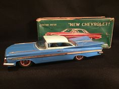 1959 CHEVY 2 DOOR WITH ORIGINAL BOX MADE IN JAPAN TIN CAR | eBay