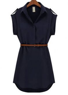 pretty nice 1f109 a87d2 Black Friday 2014 Imixcity Cap Sleeve Stretch Ol Belt Chiffon Casual Shirt  Mini Dress (M, Navy Blue) from Imixcity Cyber Monday