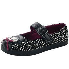 T.U.K. Mary Jane Matryoshka Russian Doll Black White Flock Plimmie Flat Shoes