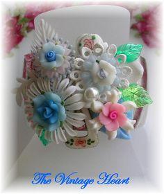Shabby Chic Roses Cuff Bracelet