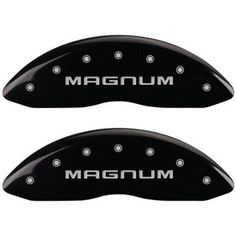 Set of 4 MGP Caliper Covers 12088Smgmbk, Engraved Front and Rear: Magnum, Black Powder Coat Finish, Silver Characters