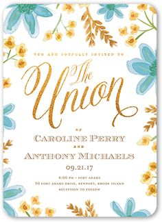 Painted Floral Wedding Invitation, Rounded Corners, Blue