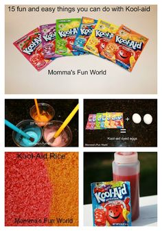 I have a bunch of kool aid, could never bring myself to drink it or let my kids so fun here we come! Momma's Fun World: 15 things you can do with Kool-Aid Craft Activities, Preschool Crafts, Fun Crafts, Crafts For Kids, Science Crafts, Kool Aid, Projects For Kids, Craft Projects, Fun World