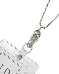 Sandal Flip Flop Id Holder Badge Tag Lanyard Silvertone Necklace, 32+2 Ext. by HW Collection -- Awesome products selected by Anna Churchill