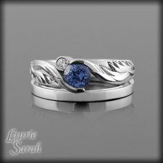GASP!...SOOO PRETTY!!!!  Blue Sapphire and Diamond Earth and Moon Platinum Ring with Plain Platinum Wedding Band - LS2540. $3,239.25, via Etsy.