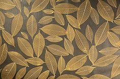 Naturtapete mit echten Blättern gold braun Natur Tapeten online kaufen