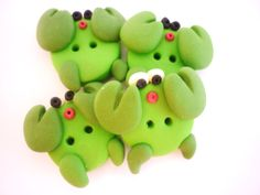 green crab buttons with polymer clay by JustFingerPrint on Etsy
