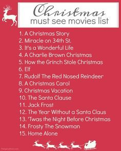 Here's a free printable Christmas movies list to make sure you catch all the classics, and new Christmas movies your whole family will love!!