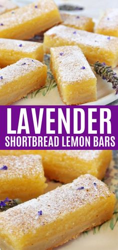 Lavender Shortbread Lemon Bars Lavender Lemon Bars are a sweet twist on traditional lemon bars! Homemade lavender sugar is used in the crust and filling to add a light lavender flavor. They're tangy, sweet, and refreshing! Just Desserts, Delicious Desserts, Yummy Food, Healthy Lemon Desserts, Desserts Keto, Healthy Food, Tasty, Health Desserts, Lavender Recipes