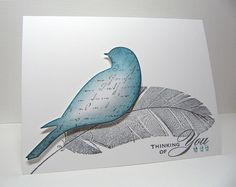 memory box bird die with hero arts feather stamp card. like the script stamp on the bird,lovely card.