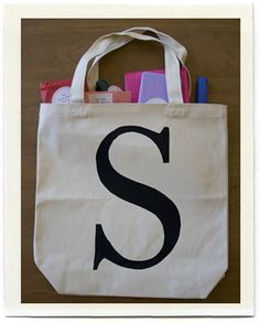 Monogram canvas bag tutorial- with lots of cute little goodies inside as a bonus!