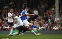 30 March 2014 Kevin Mirallas scores Everton's second at Craven Cottage