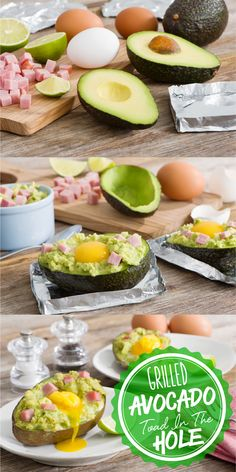 Grilled Avocado Toad in a Hole is the perfect quick and easy breakfast! Do as stuffed potato! Grilling Recipes, Raw Food Recipes, Brunch Recipes, Low Carb Recipes, Breakfast Recipes, Cooking Recipes, Healthy Recipes, Breakfast Ideas, Ketogenic Recipes