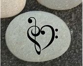 Engraved Stone, Music note, Heart, Etched Stone, Custom Engraved Stone, engraved stones, Garden stones, paper weight.
