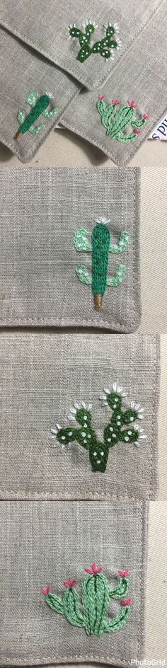 Ribbon Embroidery For Beginners Handmade cactus coasters ~ cute! Cactus Embroidery, Embroidery Works, Embroidery Patterns Free, Silk Ribbon Embroidery, Embroidery For Beginners, Diy Embroidery, Embroidery Techniques, Cross Stitch Embroidery, Machine Embroidery Designs