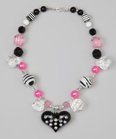 Take a look at this Pink & Black Rhinestone Heart Bead Necklace by Sunnyz Dezignz on #zulily today!