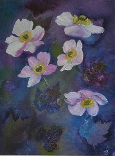 Ölmalerei - Herbstanemonen auf Keilrahmen Original Ölmalerei - ein Designerstück von Garty66 bei DaWanda