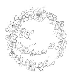 Hand Embroidery Patterns Free, Embroidery Flowers Pattern, Ribbon Embroidery, Embroidery Art, Flower Patterns, Flower Designs, Wreath Drawing, Floral Drawing, Embroidery Techniques
