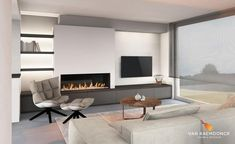 Gas fireplace in front version with TV wall - Van Raemdonck - Haard & Interior White Fireplace, Modern Fireplace, Fireplace Design, Gas Fireplace, Living Room Decor Fireplace, Living Room Interior, Mod Living Room, Home And Living, White Room Decor