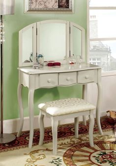 3 PC Vanity Set Make Up Table with 3 Drawers, Stool and Mirror in White/Cherry