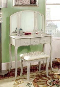 Fresh White Vanity with Stool
