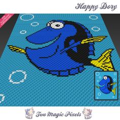 Happy Dory crochet blanket pattern; c2c, knitting, cross stitch graph; pdf download; no written counts or row-by-row instructions by TwoMagicPixels, $3.99 USD