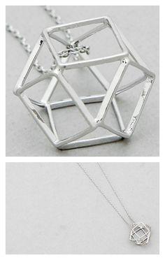 Long Open Geometric Silver Necklace
