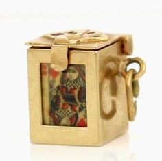 Vintage 14K Yellow Gold Miniature Playing Cards Case Charm