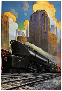 """Streamliner DeLuxe /or T. 1 - a Pennsylvania Railroad"", (The last steam locomotives built in the U.), Vintage 'Travel' Poster, Size: 61 x 41 cm., - Illustration Unknown [It's possible that was: Leslie Ragan ? Train Posters, Railway Posters, Zug Illustration, Famous Artwork, Train Art, Art Deco Posters, Design Posters, Art Graphique, Art Deco Design"