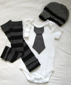 Baby boy tie onesie/body suit, leg warmer and crochet hat set, gray and black, stripes and polka dots, photo prop, Baby Fashion. $30.95, via Etsy.