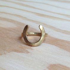 Rish Brass Horseshoe Ring, $42
