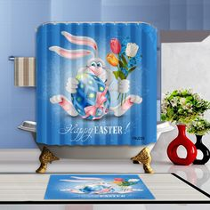 Happy Easter Waterproof Polyester Fabric Home Decor Shower Curtain Bathroom Mat Holiday Shower Curtains, Bathroom Shower Curtains, Bathroom Mat, Waterproof Fabric, Happy Easter, Hooks, Home Decor, Products, Happy Easter Day