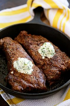 2- Cast Iron Skillet New York Strip Steaks with Gorgonzola Cheese Herb Butter _ This skillet steak was mind-blowing, especially with that creamy, salty herb gorgonzola butter melting down the sides. Truly one of the best steaks I've ever had!