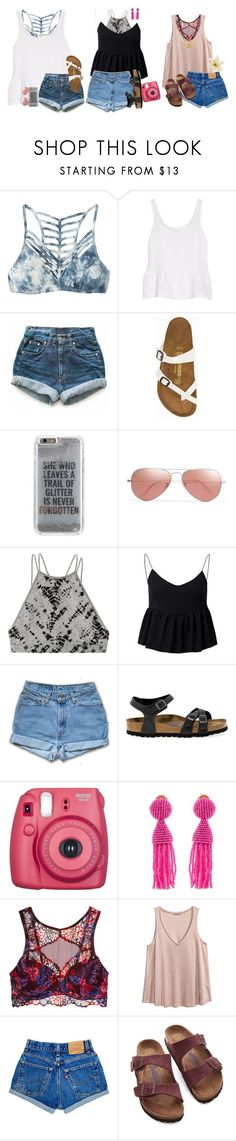 """summerdazin' with friends"" by sophie-dye ❤ liked on Polyvore featuring RVCA, J Brand, Levi's, Birkenstock, Agent 18, Ray-Ban, Victoria's Secret, Fujifilm, Oscar de la Renta and H&M"