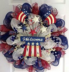 Uncle Sam Hat with American Flag and Stars Patriotic Deco Mesh Welcome Wreath What A Mesh by Diana Deco Mesh Crafts, Wreath Crafts, Diy Wreath, Wreath Ideas, Wreath Making, Tulle Wreath, Patriotic Wreath, Patriotic Crafts, July Crafts