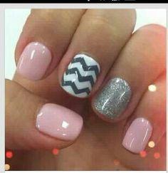 Pink w/ Chevron & Glitter Accent Nails