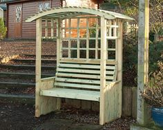 Devonshire Arbour - A comfortable arbour with gentle curves that would add style to any garden. Garden Fencing, Fence, Garden Arches, Arbour, Wakefield, Outdoor Stuff, Cool Diy, Garden Furniture, Curves