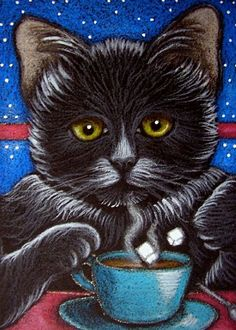 """Black Cat Katze and Coffee Cup"" par Cyra R. Cancel"