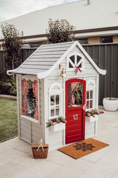 Kmart Cubby House Hack- Little Reno For Your Littlest Loves – Miss Kyree Loves Cedar Playhouse, Backyard Playhouse, Build A Playhouse, Backyard Playground, Backyard For Kids, Costco Playhouse, Kids Cubby Houses, Kids Cubbies, Play Houses