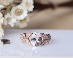 Pink Morganite Ring 7x9mm Solid 14K Rose Gold Oval by JulianStudio