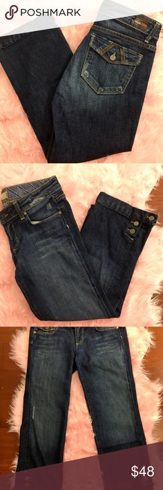 Paige cropped jeans - size 28 Paige cropped jeans  in excellent condition. Factory distressed.  3 Button closure at hems. Leather trim on back flap pockets.   Size: 28 Inseam: 22 inches  Rise: 7 Paige Jeans Jeans Ankle & Cropped