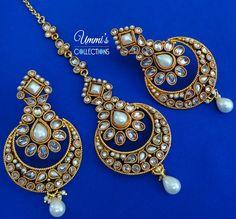 Golden Zircon Earrings Maang Tikka Set Jewelry by UmmisCollections Indian Wedding Jewelry, Indian Jewelry, Bridal Jewelry, Maang Tikka Set, Mang Tikka, Tika Jewelry, Gold Jewelry, Indian Accessories, Indian Earrings