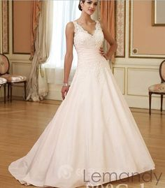 V neck lace applique princess satin wedding gown chapel train. $238.00, via Etsy.