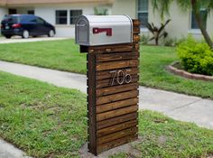 Mid-Century Wooden Mailbox DIY - Made from 4x4 fence posts and 1x3 cedar