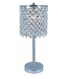 Crystal Table Lamp Polished Chrome Contemporary Side Night Light Boudoir Vanity #Contemporary