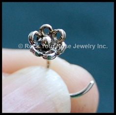 Flower Nose Stud In My Garden Sterling Silver by RockYourNose