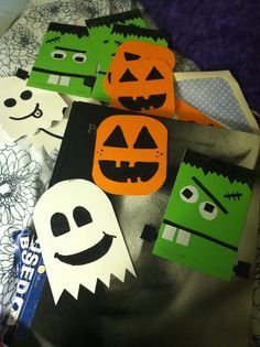 Paint chips used to make cute Halloween cards